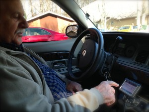 Papa learning to use the Garmin