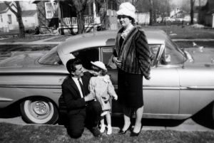 Papa, Nana and their niece Cindi, in front of Pete's 1958 Chevy. Easter 1963