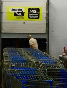 Papa taking a shortcut through the cart entrance to rest his mushy feet.